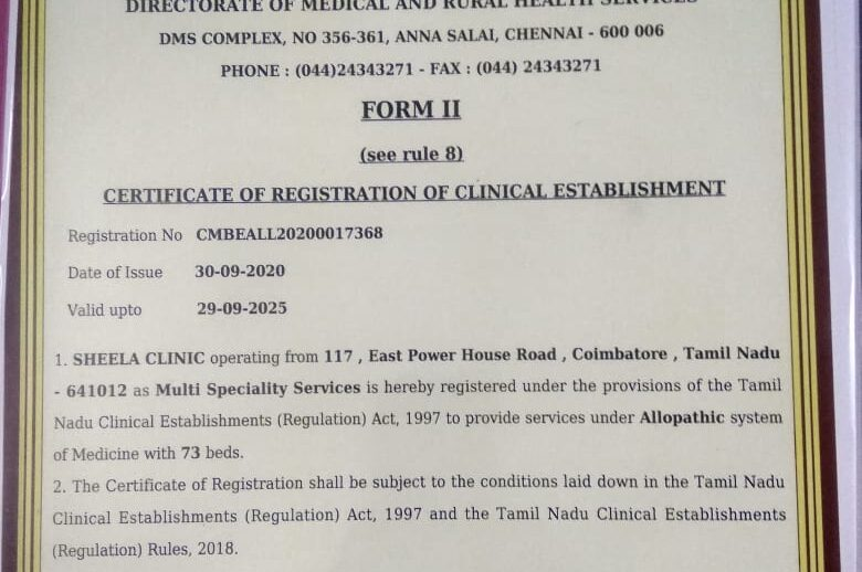 Clinical Establishment Act Certificate